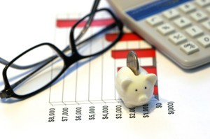 Picture of reading glasses, calculator and piggy bank on top of bar chart.