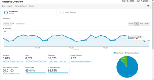 Pciture of a Google Analytics report showing high-level statistics about visitors