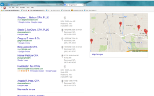 Picture of Google search results for Redmond, Washington CPAs.