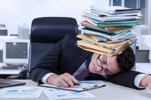Overworked bookkeeper picture