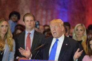 Picture of New York City - USA - April 27 2016: Republican presidential candidate Donald Trump gestures while speaking to press after his five-state super Tuesday win
