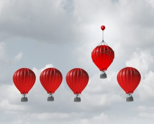 Picture of hot air balloon that look the same even though one is better, a metaphor for the different versions of QuickBooks