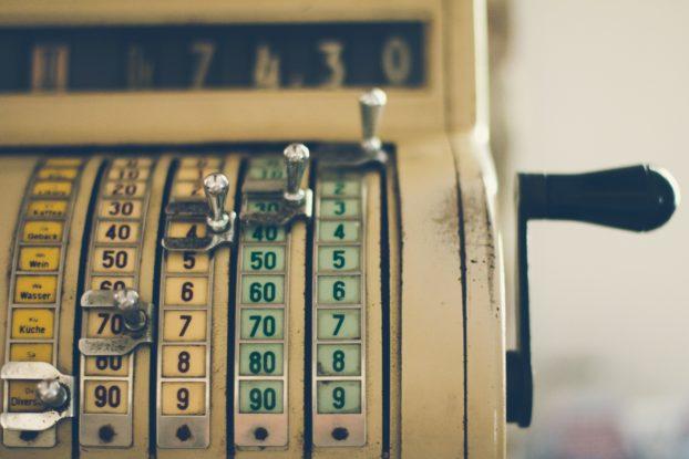 Old vintage cash register machine