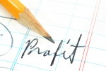Picture of pencil writing word profit.