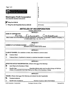 Click to see larger version of first page of free Washington incorporation form