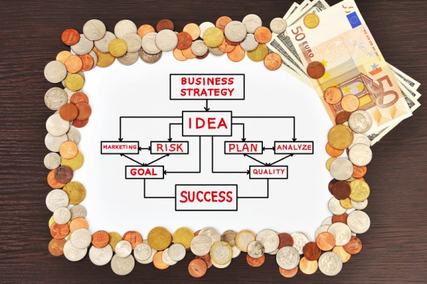 Picture of poster with drawing business concept and money, close up