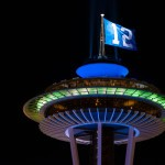 Picture of Seattle Space Needle flying Seahawks 12th man flag