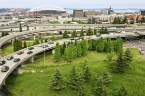 Picture of Interstate freeway with Seattle in background