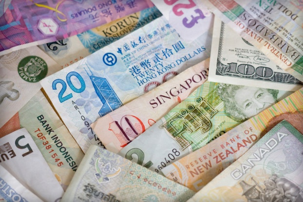Picture with several different non-US currencies showing