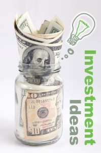 """money in a jar with """"investment ideas"""" written next to it"""