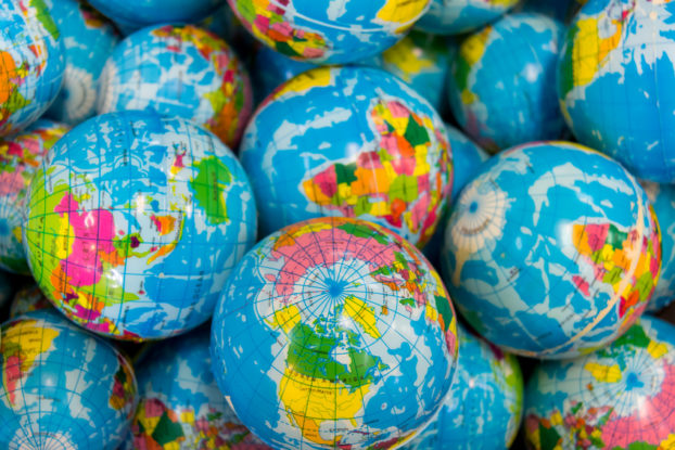 Picture of a bunch of global ball toys