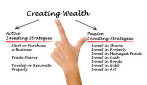 Picture of whiteboard showing investment strategies including one used to become successful active investor