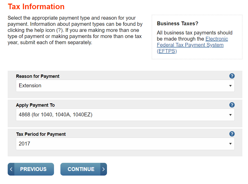 Extend tax return easily using the IRS's direct pay tool