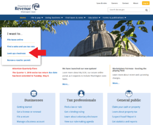 A screen capture of the homepage for the Washington Department of Revenue, with a red arrow indicating where to click to navigate to the business license lookup tool.