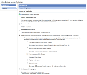 "A screen capture of the first step of the MyDOR business license application. A radio button next to ""Apply for license endorsements, hire employees, register trade names, and LCB/city change of location"" has been selected, and underneath that, a checkbox labelled ""hire employees within 90 days"" has been selected."