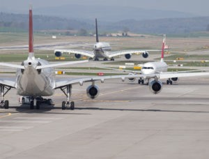 Picture of jets on tarmac in Zurich, gridlocked. A metaphor for CPA firms waiting for Section 199A final regulations.