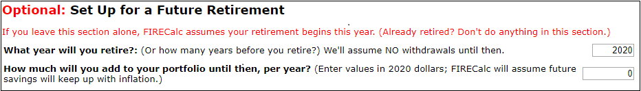 Use the Not Yet Retired tab to indicate when you retire